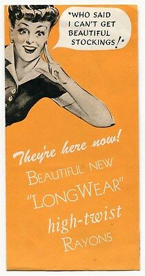 "1944 Ad Brochure & Postcard: Ladies' ""Long Wear"" Rayon Stockings"" [Illustrated]"