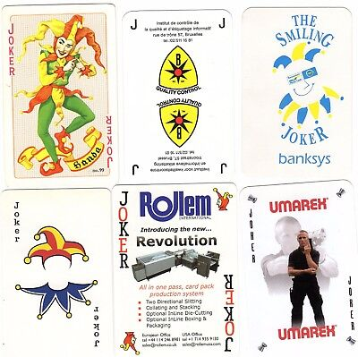 "6 Different OLD & NEW ""Mixed"" JOKER Playing Cards #b"
