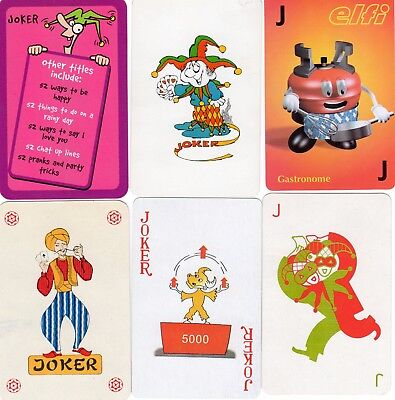 "6 Different OLD & NEW ""Mixed"" JOKER Playing Cards #c"