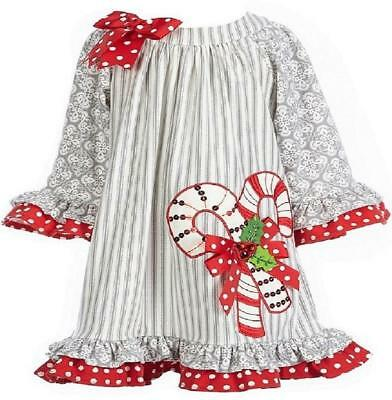 new rare editions girls gray red candycane size 3t christmas dress nwt