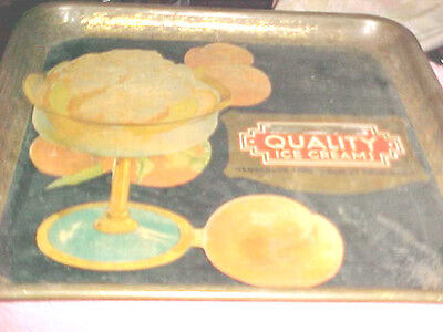 Old Antique 1900'S  QUALITY ICE CREAM Advertising SERVING TRAY CARNEGIE AVE 63