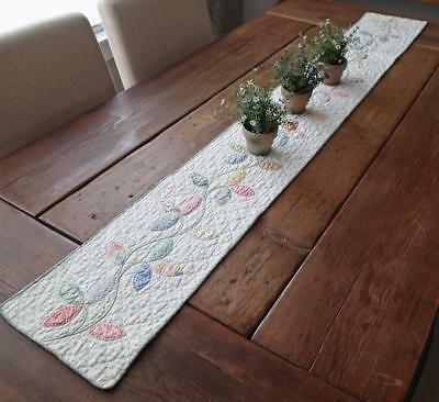 """LONG Glorious Vintage Autumn Leaves c1930 QUILT TABLE RUNNER 63"""" x 9"""""""