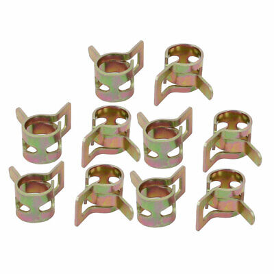 20 Pcs 7mm Spring Band Type Action Fuel Hose Pipe Air Clamp Bronze Tone