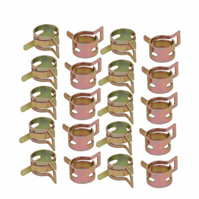 20 Pcs 11mm Spring Band Type Action Fuel Hose Pipe Air Clamp Bronze Tone