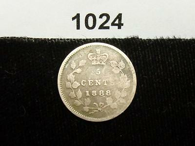 1888 5C Canada 5 Cents - Silver Coin #1024