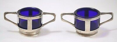 Antique 19th Century Sterling Silver English Salt Cellars w/Blue Glass Liner