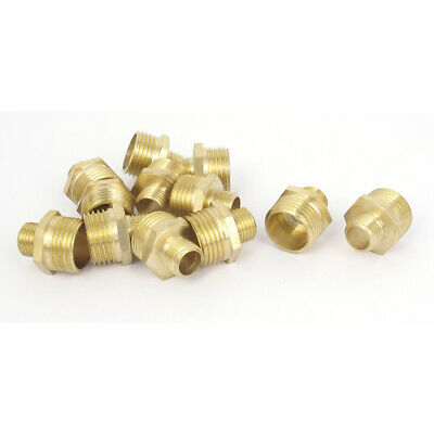"12pcs PT1/4"" to PT1/2"" Male Thread Hex Reducing Nipple Connector Brass Fittings"