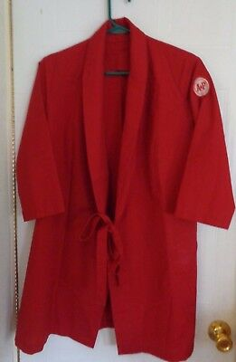 Vintage A&P Grocery Store Employee Smock Uniform with Patch Red w/ Ties