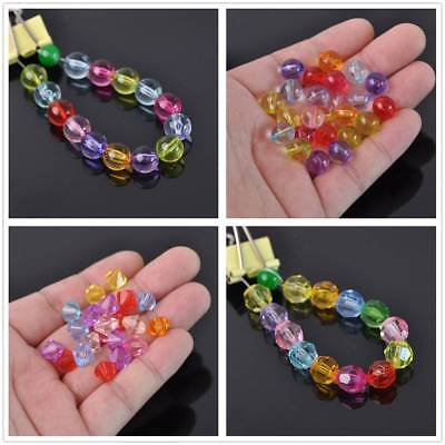 4~14mm Acrylic Plastic Transparent Faceted Loose Bicone/Round Spacer Beads DIY