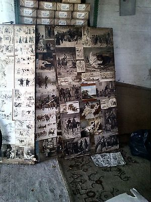 Victorian Decoupage Or Scrap Screen 3 Panels + Spare Scraps Buyer Collects Lincs