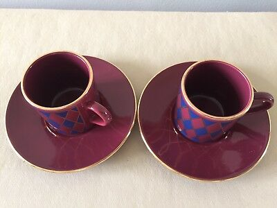 """HORNSEA """"HARLEQUIN""""COFFEE CANS AND SAUCERS x 2"""