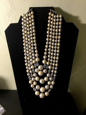 Vtg 5 Strand Faux Pearl Necklace W/Faceted Beads Japan
