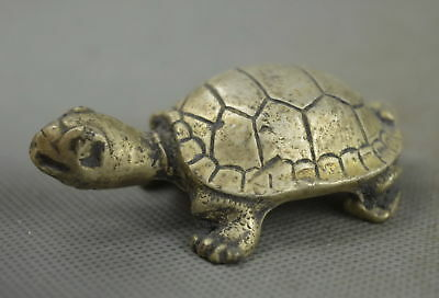 Chinese Collectible Handwork Old Miao Silver Carve Climb Tortoise Lucky Statue
