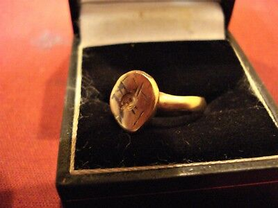 Ancient Roman Bronze 'shield' Ring--Detector Find