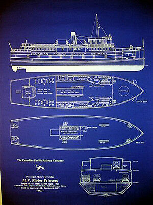 """Vintage Canadian Pacific Ferry Boat 1923 Blueprint Plan 20""""x27"""" (019)"""
