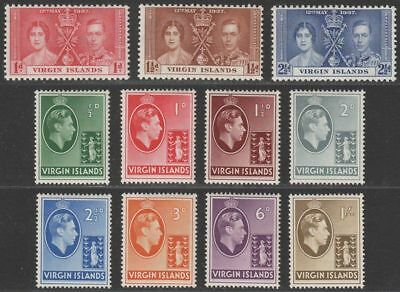 British Virgin Islands 1937-38 KGVI Badge of Colony Set to 1sh Mint chalky