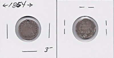 1854 SEATED LIBERTY DIME with ARROWS - 10¢ SILVER COIN @J
