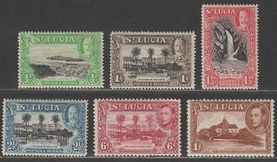 St Lucia 1936-48 KGV-KGVI Selection to 1sh Mint the 6d is faulty