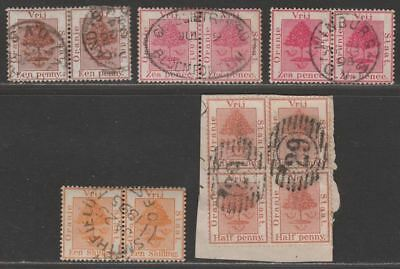 Orange Free State 1868-94 Mostly Pairs to 1sh Used inc numeral 29 block of 4