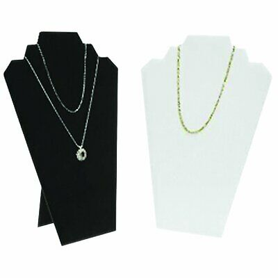 "1pc White Leatherette Necklace Easel Stand Jewelry Showcase Display 9/""H"