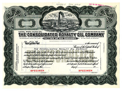 Consolidated Royalty Oil Co., 1951 Specimen Stock Certificate