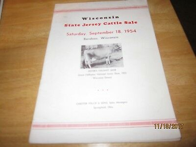 1954 WISCONSIN STATE JERSEY COW SALE CATALOG -Baraboo,Wisconsin