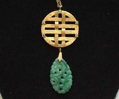 Vintage Necklace 12K Gold filled chain Asian Green Glass Pendant Jewelry lot b