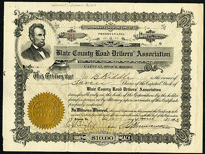 Blair County Road Drivers Assoc., 1913 Issued Stock Certificate
