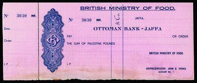 Ottoman Bank Jaffa (Palestine) Unissued Check, British Ministry of Food ca.1940s