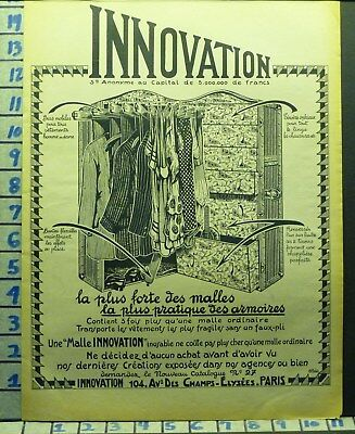 1921 Innovation Travel Trunk Steamer Wardrobe French Travel  Ad  X35