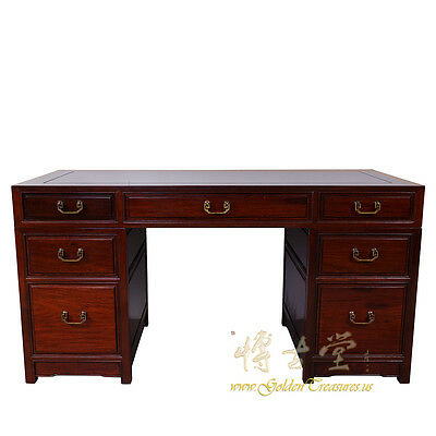 Vintage Chinese Rosewood 7 Drawers Office Desk 16LP81