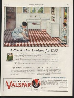 1923 Valentine Valspar Kitchen Linoleum Home Decor Sink Cabinet Vintage Ad 22095