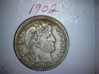 1902 Barber or Liberty Head Silver Quarter Circulated