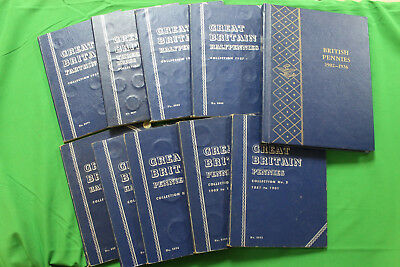 Lot of 10 Complete Great Britain Books 1881 up Penny, 1/2 Pen, 3 Pence, Farthing