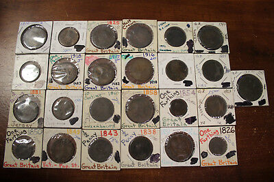 Lot of 25 Old Great Britain Copper & Bronze Coins Dating From 1771-1918