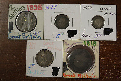 Lot of 5 Great Britain Silver Coins 1818-1932 Shillings 1/2 Half Crowns Pence