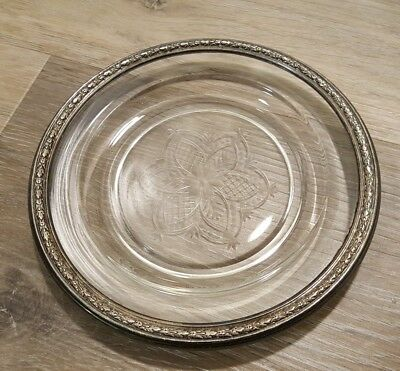 Vintage Sterling Silver .925 Rim Embossed Etched Glass Saucer Dish Floral MARKED