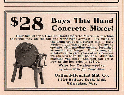 Ad Lot Of 2 1915 C Ads Concrete Mixer Galland Henning Mfg Co Hand Geisler