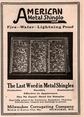 AD LOT OF 2 1915 - 17A ADS milwaukee corrugating  ventilators embossed SHINGLES