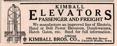 1915 Ad B Kimball Bros Elevators Passenger And Freight
