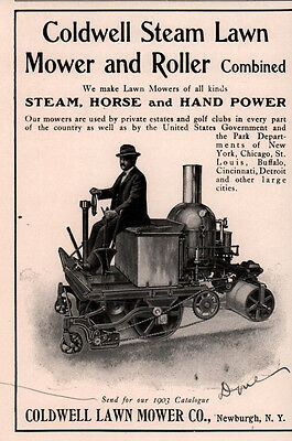 1903 Ad Coldwell Steam Lawn Mower And Roler