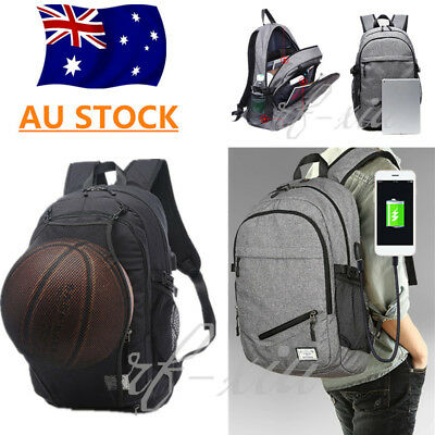 Men Waterproof Laptop Backpack Bag w/ USB Charge port Basketball Net Sport Style