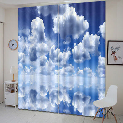 3D Cloud Lake Shadow Blockout Photo Print 2 Panels Fabric Window Curtain Drapes