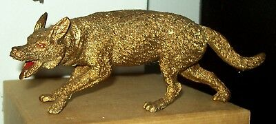 "Figural Gilt Composition Wolf From Store Window Display 7.5"" Long"