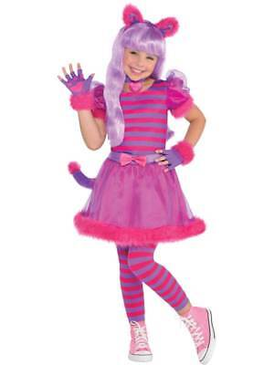 Girls Cheshire Cat Costume Childs Alice Animal Fancy Dress Book Week Day Outfit
