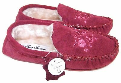 WOMENS Blue/Burgundy Genuine Suede Leather Upper Moccasins Slippers UK Sizes 3-8