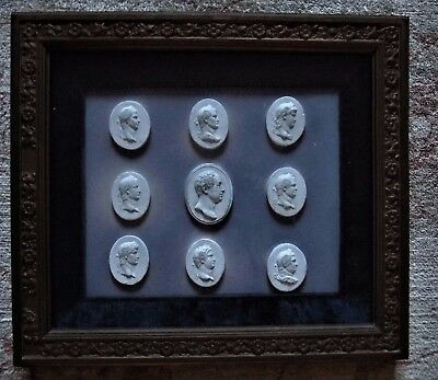Antique 19Thc Grand Tour Collection Of Plaster Cameos Portraying Roman Emperors