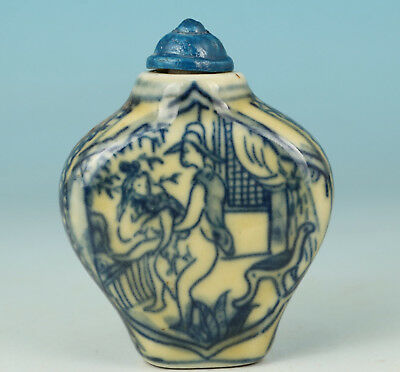 Chinese Blue and white Porcelain Handmade Painting Belle Snuff Bottle