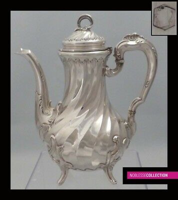 FINE SMALL ANTIQUE 1890s FRENCH ALL STERLING SILVER TEA/COFFEE POT Rococo style