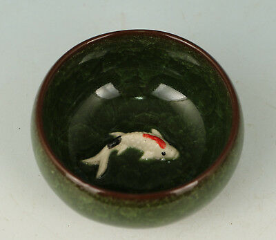 Chinese Porcelain Handmade Carved Fish Statue Wine Tea Cup Bowl